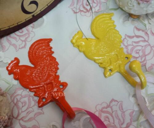 2 Country Rooster Wall Hook Orange Yellow Kitchen Storage Hangers Chicken Theme