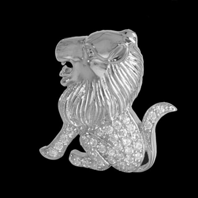 Sternzeichen Löwe Anhänger 925 Sterling Silber Zirkonia 23x21mm Silberanhänger