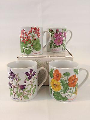 Lillian Vernon Mug Set Rose Geranium Clematis Nasturtium 1984 Floral Vintage