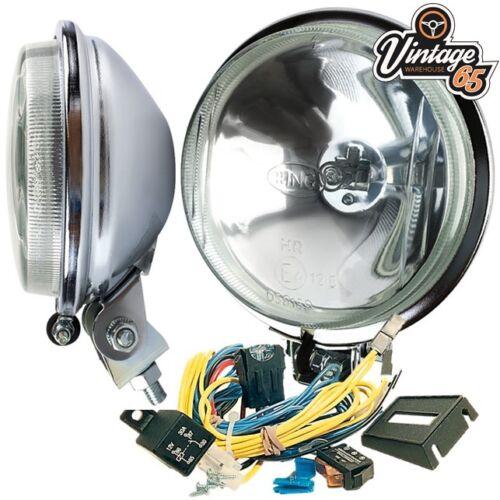 Triumph Herald classique ANNEAU CHROME DRIVING Lights Spot Lampes Avec Câblage Kit