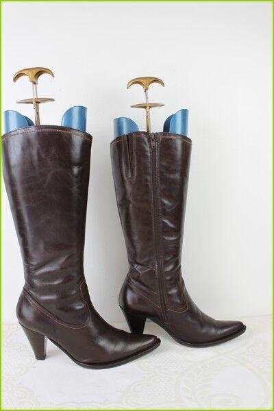 Bottes Bouts Pointus Cuir brown Fabriqué en Espagne T 37 TBE