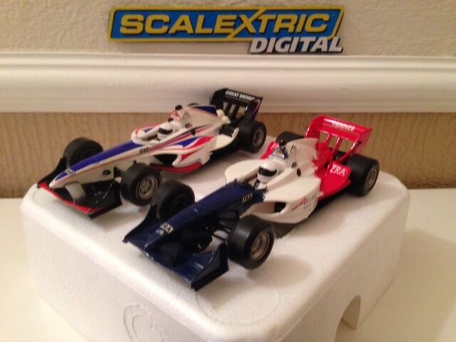 Scalextric Digital A1 Grand Prix Team GB & Team France Rare Set Cars Excellent