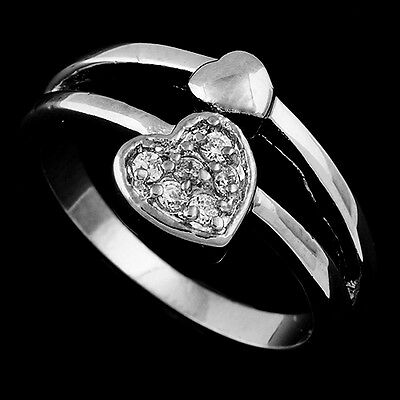 Fashion jewelry Engagement Wedding Gold Filled Clear CZ Heart Ring Size 6