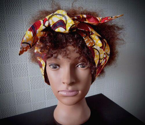 African Cheveux Foulard Ankara Bandeau//Bandana kente Coton Cheveux PIN UP Self-Tie