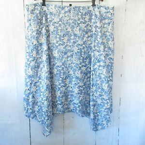 New-145-Ralph-Lauren-Woman-Skirt-22W-Blue-Floral-Asymmetric-Hem-Plus-Size