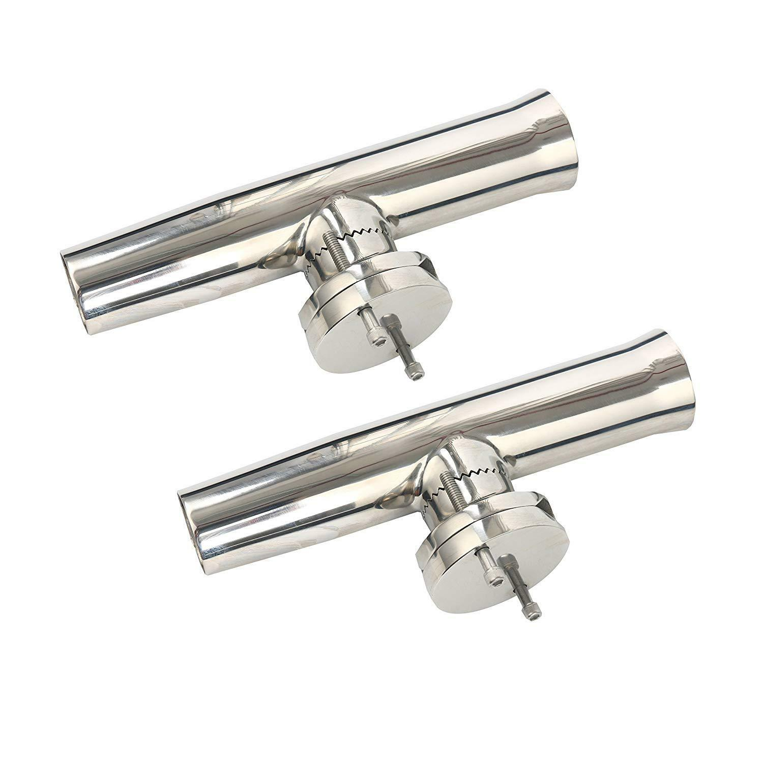 2pcs Tournament Style Clamp on Fishing Rod Holder Stainless for Rail 1-1 4 to 2