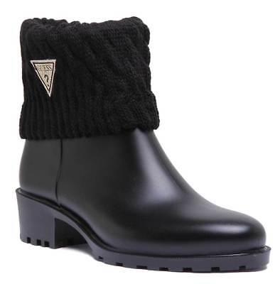 Guess Short Welly Boot In Black Matt