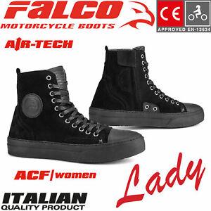 FALCO-Damen-Schuhe-LENNOX-LADY-kurze-Motorrad-CE-Lederstiefel-mit-Protektoren