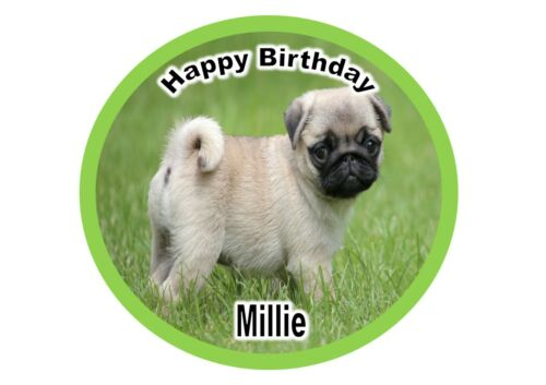 Round edible Pug cake topper available in 6inch 7inch 8inch