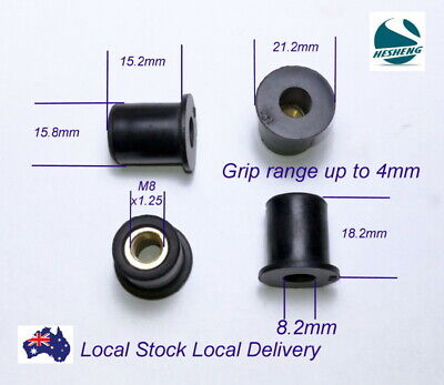 Rubber Well Nuts EPDM Brass Insert Windscreen Fairing Nut Metric Sizes QTY 10