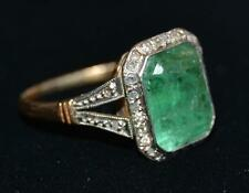Antique Fine 14K White / Yellow Gold Emerald and Diamond Ring