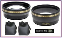 Pro Hd Wide Angle & Telephoto Lens Set For Fujifilm Finepix Hs50exr Hs35exr