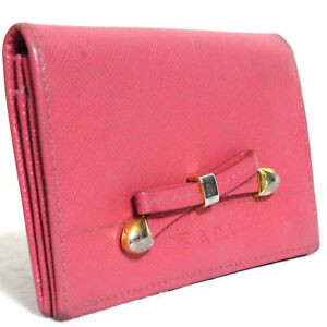 sale retailer 46acc da920 Details about Vintage Auth Prada Ribbon Pink Saffiano Leather Business Card  Case Made Italy