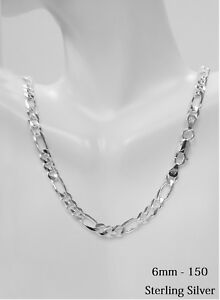 c064e6d9ecbbe Sterling Silver Figaro Chain Necklace 6MM (150 gauge) All Length ...