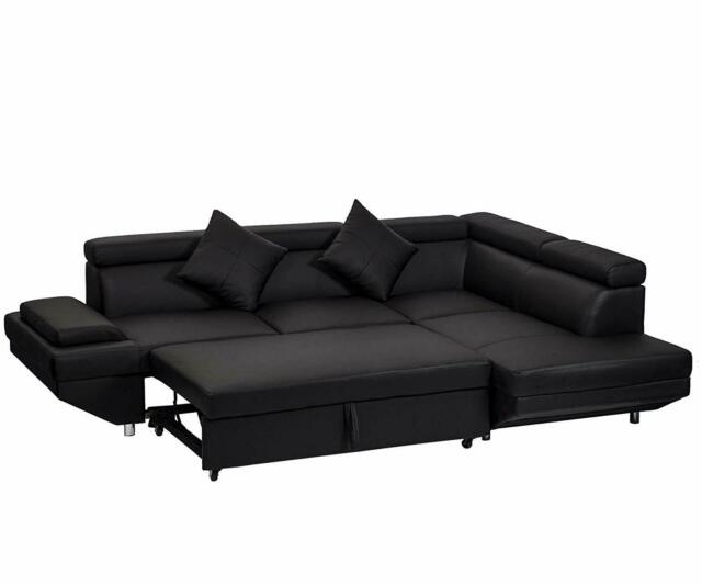 Groovy Contemporary Sectional Modern Sofa Bed Black With Functional Armrest Back R Interior Design Ideas Gentotryabchikinfo