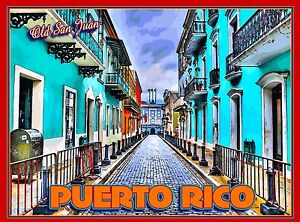 Old San Juan Puerto Rico Caribbean America Original Travel Poster by ShaynaMar