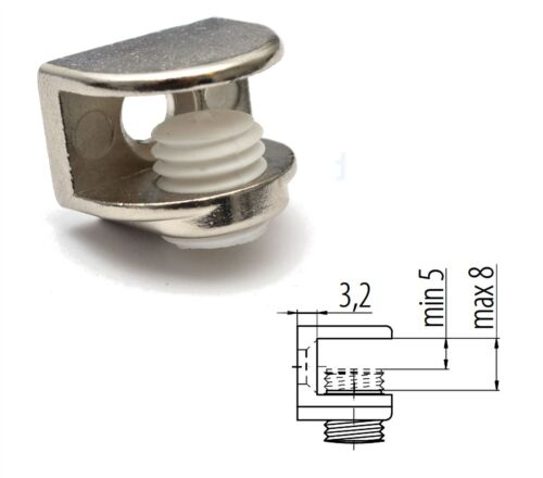 Small Shelf Bracket Glass Shelf Support 5-8mm thickness Shelves Pack of 4