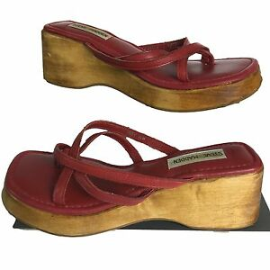 8d927b6778 Image is loading Steve-Madden-Leather-Platform-Sandals-Womens-Vintage-90s-