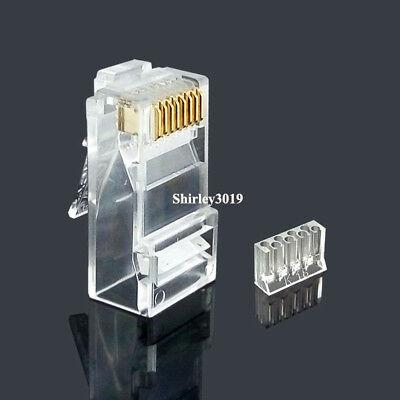 100pcs rj45 connector cat6 network connector split type modular plug terminals