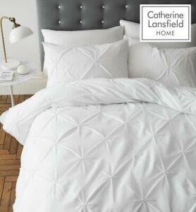 Catherine-Lansfield-034-pellizco-Pleat-034-Pin-Tuck-Quilt-Duvet-cover-del-lecho-del-conjunto-blanco