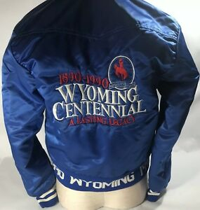 Vintage-Westarc-Wyoming-Centennial-Satin-Jacket-Blue-1990-Small-Embroidered-Gift