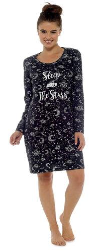 Femmes 100/% coton à manches longues nuisette RAYURES NOIR ou étoiles Taille 8-22