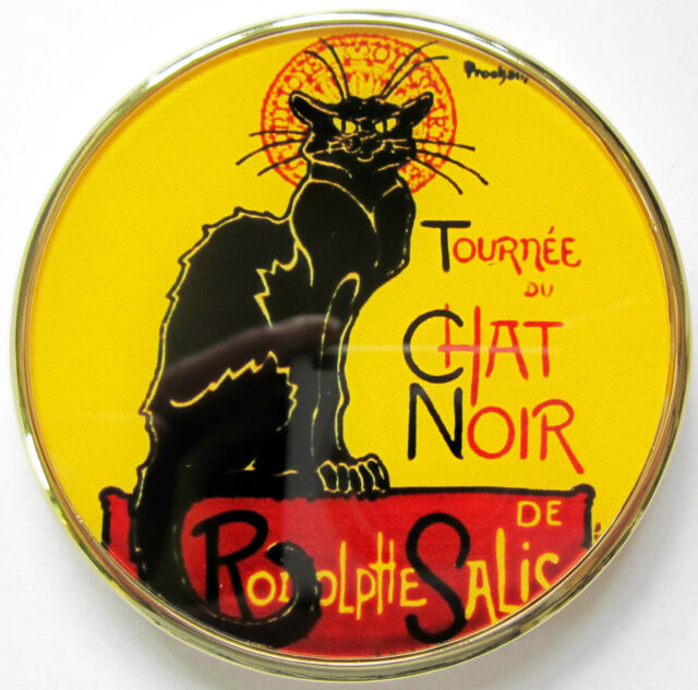 New STEINLEN CHAT NOIR Compact Mirror with gift box & velvet pouch by Parastone