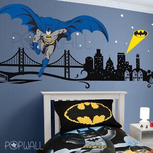 Image Is Loading Batman Wall Decal Super Hero Cityscape Avengers Wall