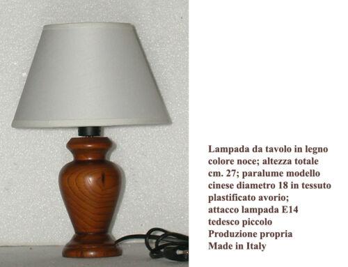 Lampada da tavolo lumetto comodino h27 abat jour in legno colore noce