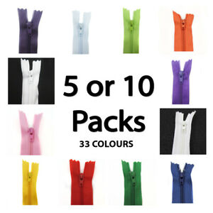 No-3-CLOSED-END-8-INCH-NYLON-ZIPS-35COLOURS-PACK-OF-5-or-10-HABERDASHERY-SEW