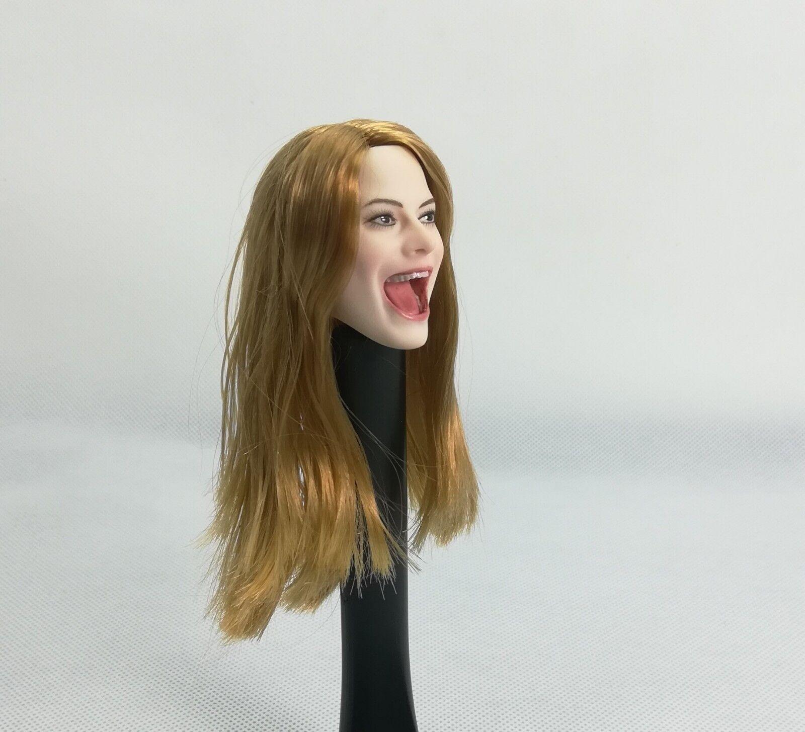 1 6 Female Blonde Hair Head Sculpt Singing Open Mouth F 12'' Figure Body