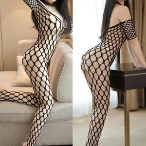 Sexy-Lingerie-Fishnet-Body-Stocking-Dress-Underwear-Babydoll-Sleepwear-Bodysu-FJ