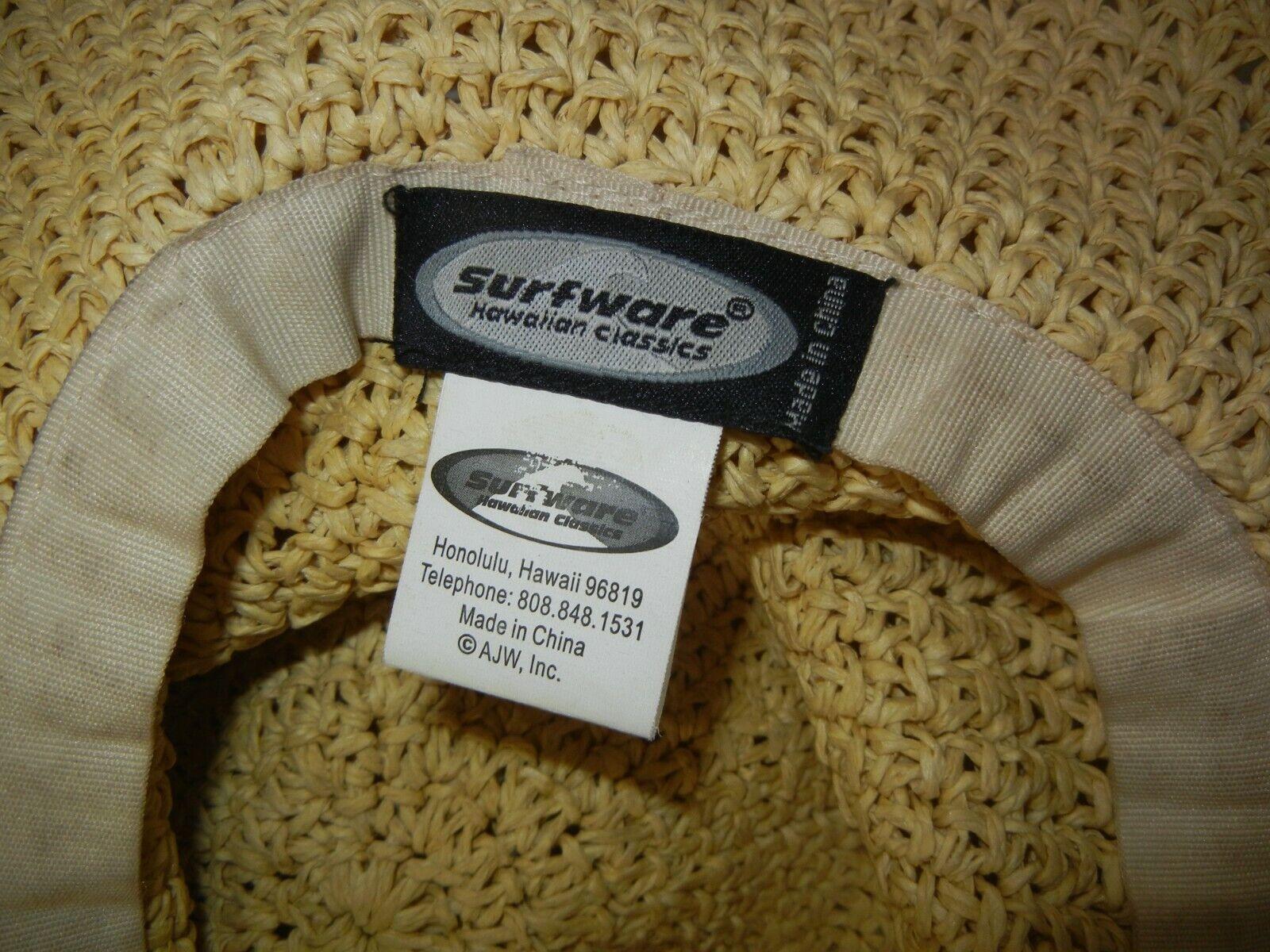 SURF-WARE Hawaii Brown FLOPPY WIDE BRIM STRAW HAT… - image 7