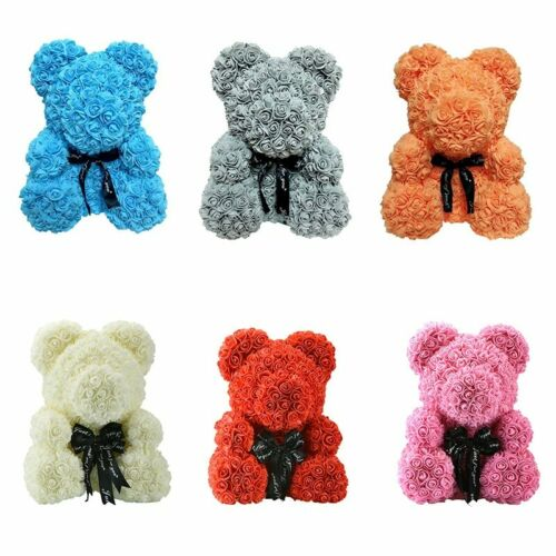 HOT Valentines Gift 25cm Teddy Bear Rose Flower Artificial Decoration Christmas