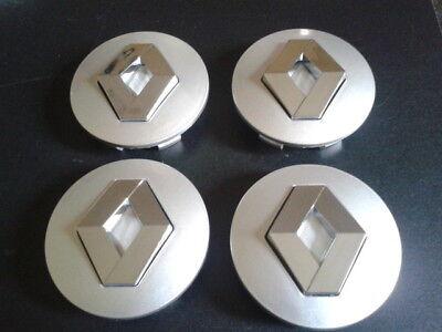 4 Caches Moyeu Renault Jante Centre De Roue 57mm NOIR Insigne Emblème Logo