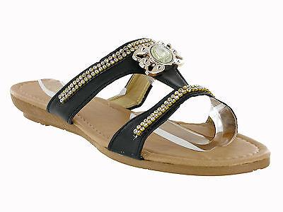 Nuevo Para Mujer Con Joyas Gem Flip Flop Verano Slip On Chinelas Sandalias Tamaño 3-8 Reino Unido