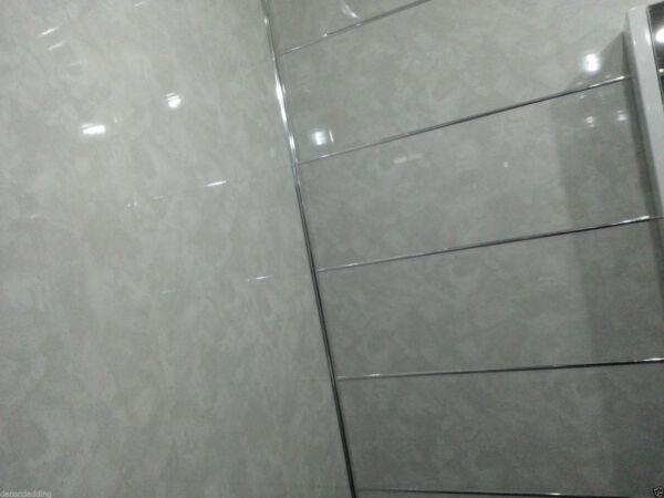 8 Light Grey Marble Effect PVC Bathroom Cladding Wall ...
