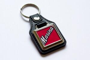 Morris-Marina-Badge-Keyring-Leatherette-amp-Chrome-Classic-British-Car-Keyfob