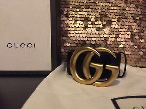 35e291569 Gold Brass Black Leather Gucci Belt 85cm 34in Fits 28-30 Waist ...