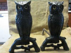 Vintage Set Cast Iron Owl Fireplace Andirons w Glass Eyes Antique ...