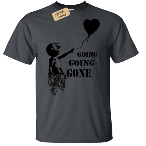 Going Gone Banksy Fille avec Ballon T-Shirt Homme Drôle enchères