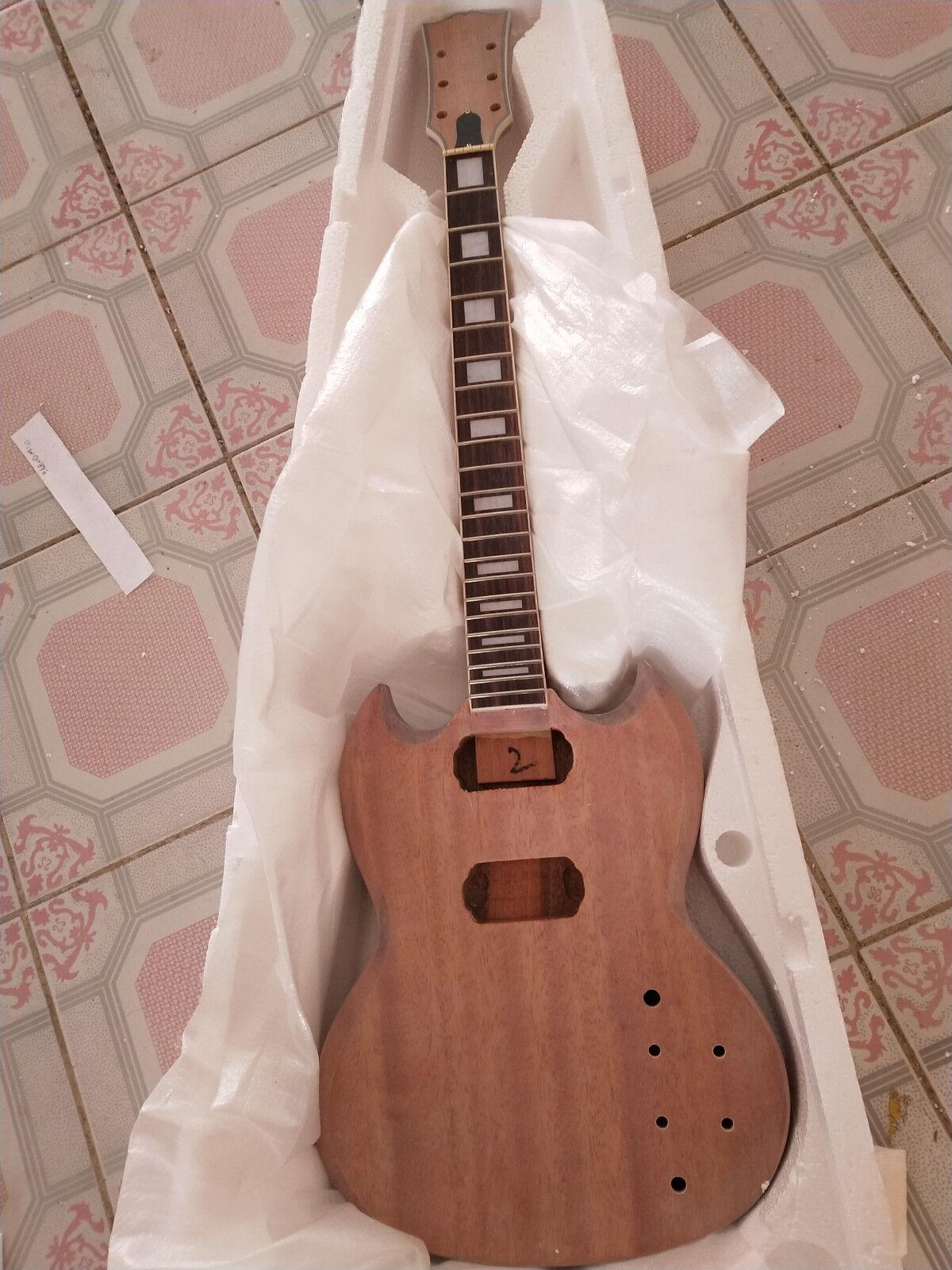 Juego de 1 cuerpo y cuello sin rematar Guitarra Guitarra Guitarra Hágalo usted mismo Kit de guitarra eléctrica estilo SG  comprar barato