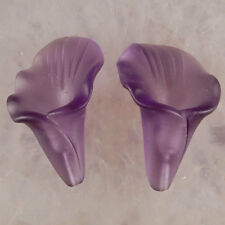 A0132-c 25x16x11 Pair Purple Ground Glass Flower Pendant Beads