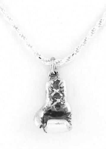 Sterling Silver 3D Boxing Glove Charm with Rope Chain Necklace