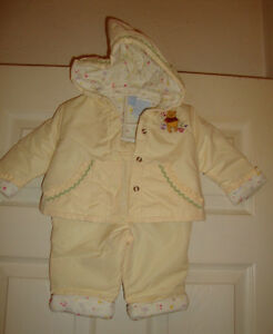 "6/9/mo Grade Products According To Quality ""euc"" @@ Nice Knowledgeable Disney~girls~quilted/hood/jkt/pants/w/embroidered/pooh!"