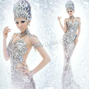 0f6f494cfd97 Image is loading Silver-Club-Dance-Costume-Sequins-Pageant-Dresses-Mermaid-