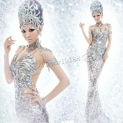 Silver Club Dance Costume Sequins Pageant Dresses Mermaid  Formal Evening Gowns