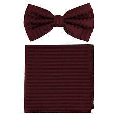New formal men's pre tied Bow tie & Pocket Square Hankie stripes Burgundy prom