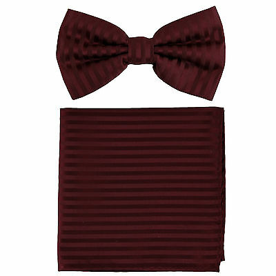 New Men/'s Pre-tied Bowtie And Hankie Set Two Tone Formal Prom Brown Beige Stripe