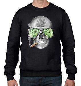 Marijuana-Weed-Skull-Men-039-s-Sweatshirt-Jumper-Cannabis-Hydroponics